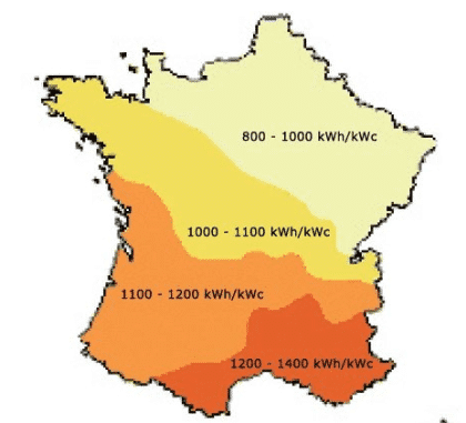 Estimation de la puissance du gisement solaire en France (par PVGIS)