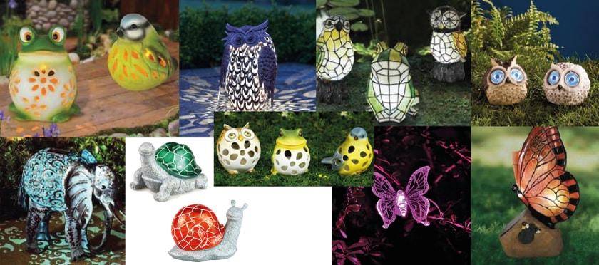 Lampes solaires et animaux.